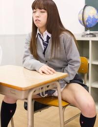 Petite Japanese schoolgirl caught masturbating in class sucks teachers cock