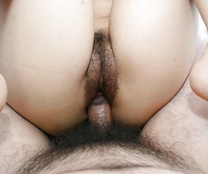 Lecherous asian girl gets her shaggy pussy boned-up and creampied