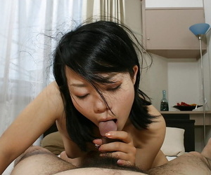 Asian MILF Tomoe Asai gives head and gets her hairy pussy slammed hard