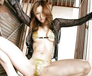 Hot ass asian toddler with X-rated trotters Yuki Touma posing beside bikini