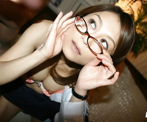 Slutty asian coed in glasses gets fucked hardcore and facialized