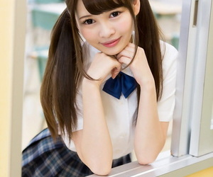 Cutie Japanese schoolgirl in pigtails shows undisguised bore in no right arm for In men\'s drawers upskirt