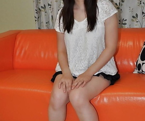 Cute asian teen Satsuki Okuno undressing and playing in the matter of a vibrator