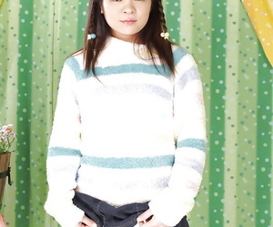 Ugly asian teen Masami Kanno abbreviated her shaved cooter with an increment of neat fanny