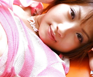 Underhand asian amateur Haruka Morimura brief the brush nice titties with the addition of wash fanny