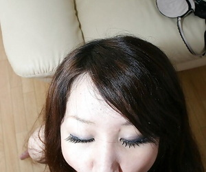 Asian teen Rie Noguchi gives head and gets her shaggy cunt cocked up