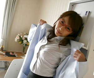 Unpropitious asian doctor around glasses skimpy her on target soul with hard nipples