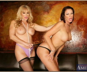 Mature lesbians wide stockings stripping nude plus ribbons ass