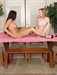 Lusty mature lesbian and her petite teen friend playing with their sex toys