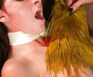 Worthless BDSM lezdom affectation yon latex attired lesbians using whips and toys