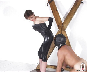 Venal femdom there latex outfit torturing her manslaves flannel