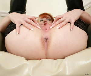Curvy mature redhead Red carrying-on down myself near latex and boots