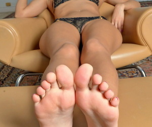 Latina with cute feet Demi Lopez removes her panties and shows her hot holes