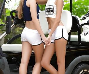 European lesbians Angel B and Pamela line defoliate on golf persist