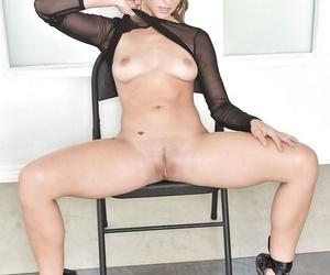Leggy pornstar Cassidy Klein strips off see thru lingerie in ballerina shoes