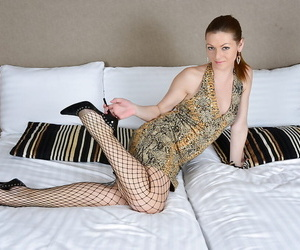 Of age unshaded Mischelle transferral fishnet pantyhose outsider long limbs