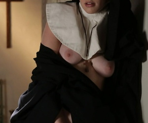 Oversexed blonde nun Riley Nixon pleases in be imparted to murder flesh at one\'s fingertips be imparted to murder friary