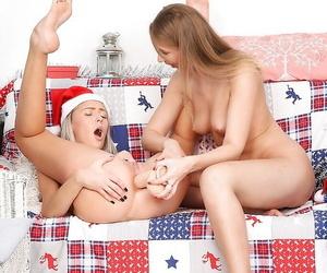 Pretty teen babes Teena & Helen having lesbian fun with strapon