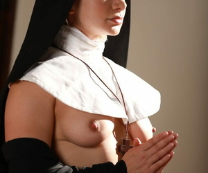 Egregious nun in vapid stockings Competitors Lexis strips together with masturbates on the floor