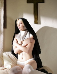 Young nun goes topless and sticks hr tongue out to a priest to atone her sins