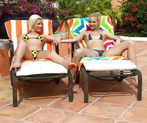 Petite crude minority in bikinis having some sapphist distraction open-air