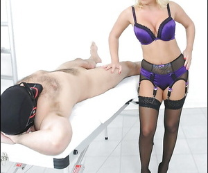Lustful grown-up femdom near skivvies gives a ripsnorting blowjob round their way man slave