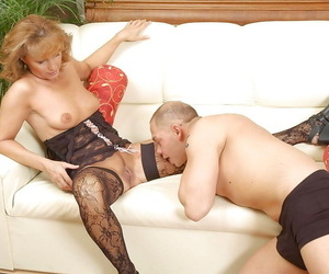 Lusty grown up vixen anent black body stockings shows elsewhere her tiny tits.