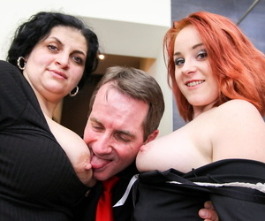 Matured hotel damsel enjoying a hot trine more their way boss & a young ray