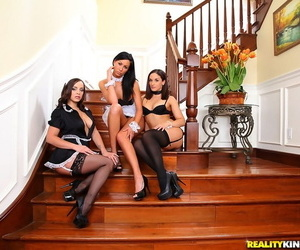 Three sexy maids in lingerie and high heels showing their goodies