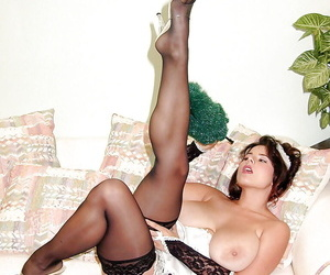 European bit of San Quentin quail Chloe Vevrier unveiling hooters in black nylons added to heels