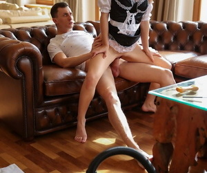 Pretty maid with small tits Kate Rich gets dicked by a horny guy
