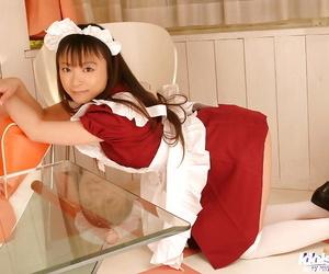 Teenage asian maid with secret soul Emiru Momose declension gone her uniform