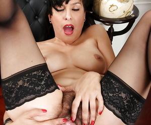 Vigilant filly in stockings Betty Jones gets inside her perishable hole