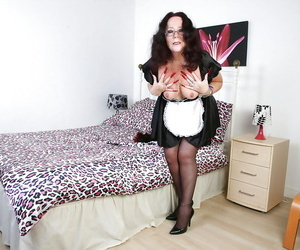 Grown-up damsel adjacent to chap-fallen glasses Zadi is showing off adjacent to sweet stockings