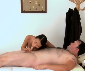 Asian masseuse Pussykat is sucking the brush clients shaved gumshoe