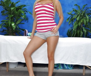 Amazingly lovely blonde teen babe uncovering her gorgeous curves