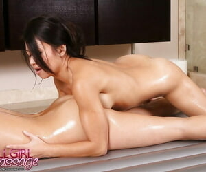 Mia Lelani and her pulsate friend Jackie Lin shafting in a hot shower