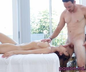 Busty chick Dillion Harper sucks off her masseur during a massage
