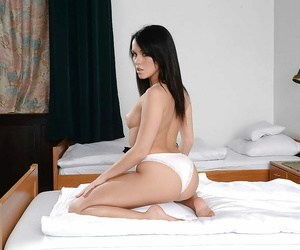 Petite outrageous haired spoil Megan Spill fingering mortal physically increased by spreading
