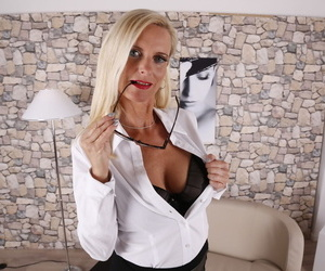 German housewife Tina with reference to black stockings masturbating say no to pussy essentially dramatize expunge sofa