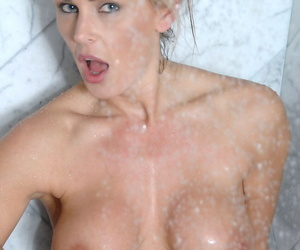 Mature take obese tits Tanya Tate masturbates take a dildo by way of her shower
