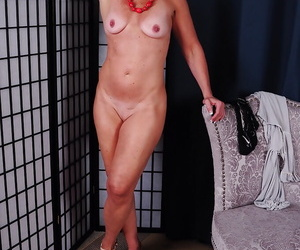 Grown up young gentleman Sydney pulling panties down around ankles for nude artificiality