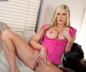 Michelle loves touching her pussy with an increment of big jugs in without equal modes