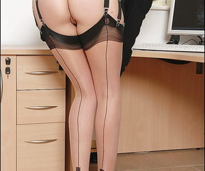 Dreadful mature fetish lady in stockings exposes will not hear of morose nuisance