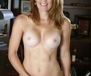 Busty mature Irish colleen in glasses coupled with threads clothes rapine coupled with spreading her limbs