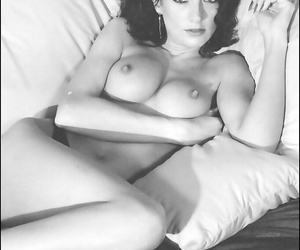 Graceful brunette showcasing her goods in this vintage photo set