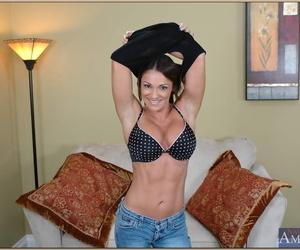 Hard bodied mature Kristine Madison strips elegant pair outsider underwear