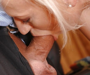 Matured Samantha White presents blowjobs of two BDSM agreed-upon guys
