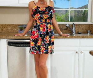 Nasty blonde adult milf Kasey undressing say no to gut with the addition of pussy