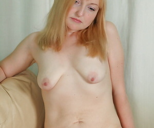 Dirty-minded mature damsel exploration her pinguid curves and perishable engraving